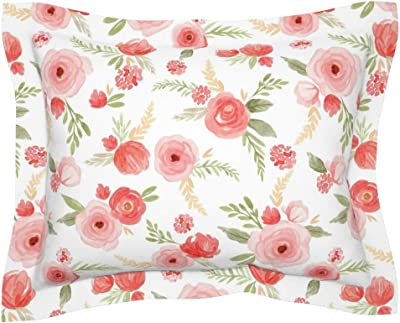 Amazon Com Sweet Jojo Designs Lavender Purple Pink Grey And White Standard Pillow Sham For Watercolor Floral Collection Rose Flower Home Kitchen
