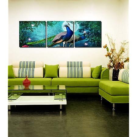 999Store Multiple Frames City River View Art Panels Like Painting - 3 Frames (135X45 Cms)
