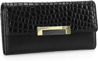 HAWEE Black Wallet for Women Trifold Genuine Leather Minimalist Purse for Ladies Multi Card Holder Checkbook Organizer, Bl...