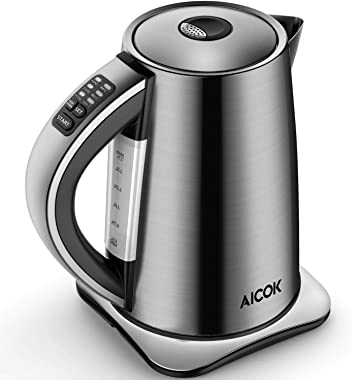 AICOK Electric Kettle Variable Temperature Stainless Steel Tea Kettle, Cordless Electric Water Kettle with 1500W SpeedBoil, Auto Shut Off and Boil-Dry Protection, 1.7-Liter, 1500W Fast Boiling (silver)