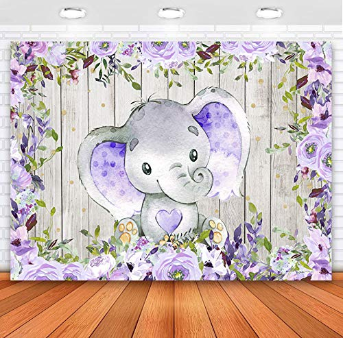 Sensfun Elephant Backdrop for Girl Baby Shower Elephant Purple Floral Rustic Wood Photography Background 7x5ft Baby It's a Girl Elephant Baby Shower Backdrops Decorations Banner Photo Booth Supplies
