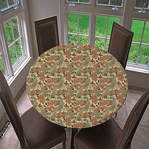 Chickwin Mantel Antimanchas Redondo, Mantel de Mesa Impermeable Diseño de Borde Elástico con Patrón de Paisley Mantel Redondo para Comedor, Cocina y Picnic (Amarillo,Diámetro 100cm)