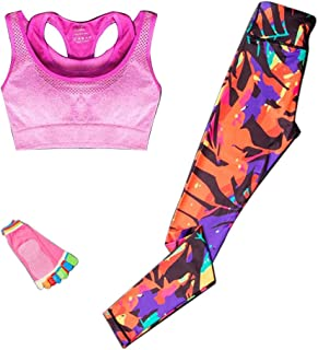 XFKLJ Sport Bra Yoga Pants Yoga Sets for Women Sports Suits Gym Workout Sportswear Fitness Leggings/Sports Bra/Yoga Socks ...