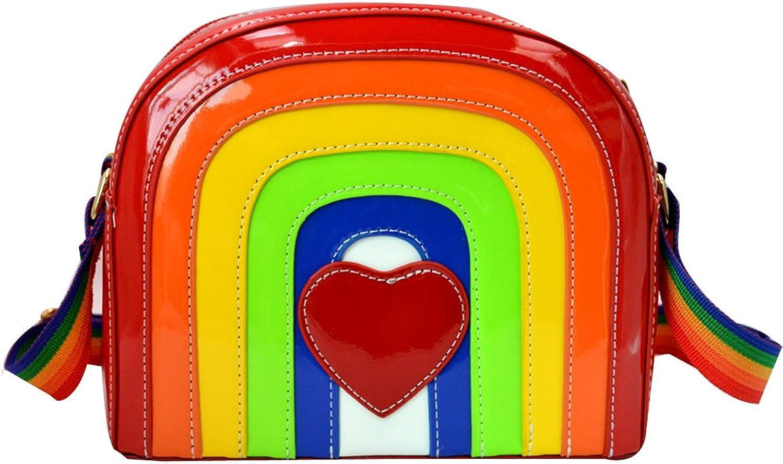 Buddy Women Girls Rainbow PU Shoulder Bag Fashion Mini Cross Body Bag Cute Satchel Purse
