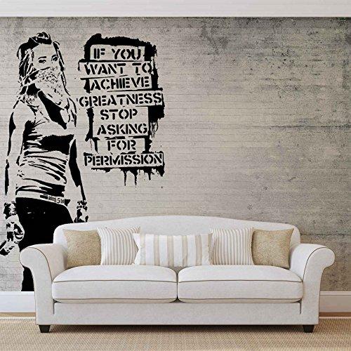 Banksy Graffiti Betonwand - Forwall - Fototapete - Tapete - Fotomural - Mural Wandbild - (2899WM) - XXL - 312cm x 219cm - VLIES (EasyInstall) - 3 Pieces