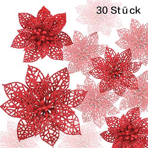 CDWERD - Decorazioni per Albero di Natale con Glitter, 30 Pezzi