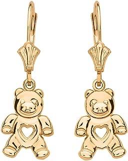 14k Yellow Gold Love Teddy Bear Dangle Earrings