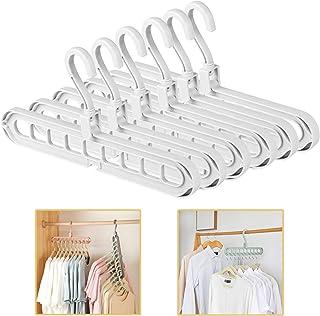 Pack of 6 Clothes Hangers Space Save Closet Organize Plastic Suit Pants Coat Skirt White