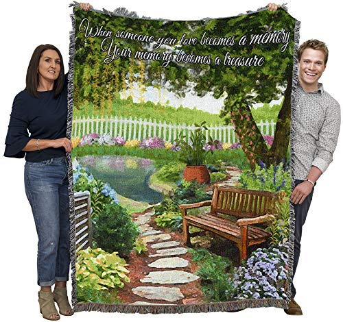 Tranquil Garden - When Someone You Love Becomes A Memory - Sympathy - Cotton Woven Blanket Throw - Made in The USA (72x54)
