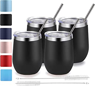 Stemless Wine Tumbler with Lid and Straw, Bastwe 4 Pack 12oz Stainless Steel Wine Glass, Double Wall Insulated Wine Tumbler for Champagne, Cocktail, Beer, Coffee, Drinks (Black)
