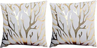 Lovelegis 2 Fundas de Almohada cojín Cuadrado 44 x 44 cm cojín Decorativo Lino sofá Cama hogar Dormitorio fantasía Cuernos Ciervo Alce Reno Ramas árbol Estampado Dorado Blanco