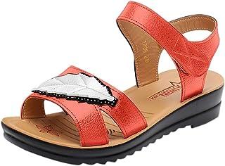 2fa9a887daf7e8 Sandales Plates Femme Bout Ouvert Doux Respirant Mode chaussure Plate Grande  Taille Extérieur Marche Plage Soiree