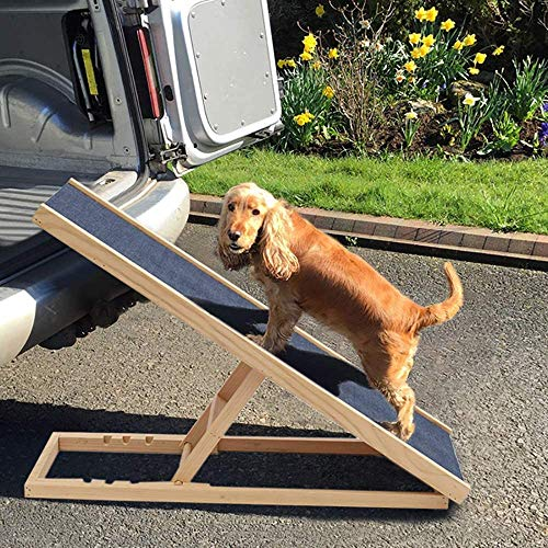 Hund Rampe höhenverstellbar rutschfeste Sicherheitsrampe für die Reise, die aus Holz, Hund, Katze Haustier Leiter,A
