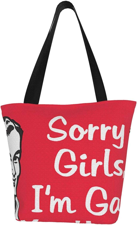 Sorry Girls I' M Gay Pride Gay Themed Printed Women Canvas Handbag Zipper Shoulder Bag Work Booksbag Tote Purse Leisure Hobo Bag For Shopping