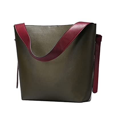 S-ZONE Women's Contrast Color Leather Bucket Tote Bag