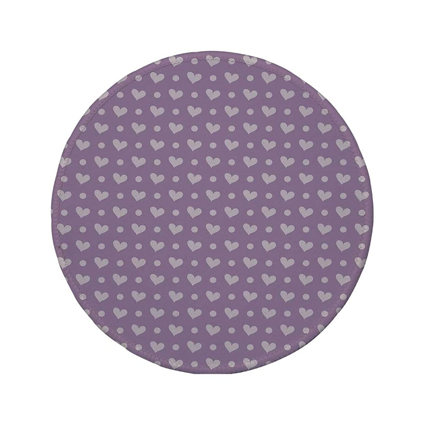 Non-Slip Rubber Round Mouse Pad,Purple,Valentines Day Couple Wedding Bride Inspiring Heart Icon Design Image Decorative,Lavander and Purple,11.8