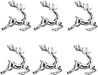 SCTD Deer Napkin Rings Set of 6 - Metal Napkin Ring Holders for Hotel Restaurant Wedding Party, a Beautiful Complement to Your Christmas Dinner Table Décor (Silver)