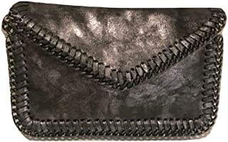 Crossbody Handbag or Clutch Pewter Washed with Chain Strap in Gun Metal
