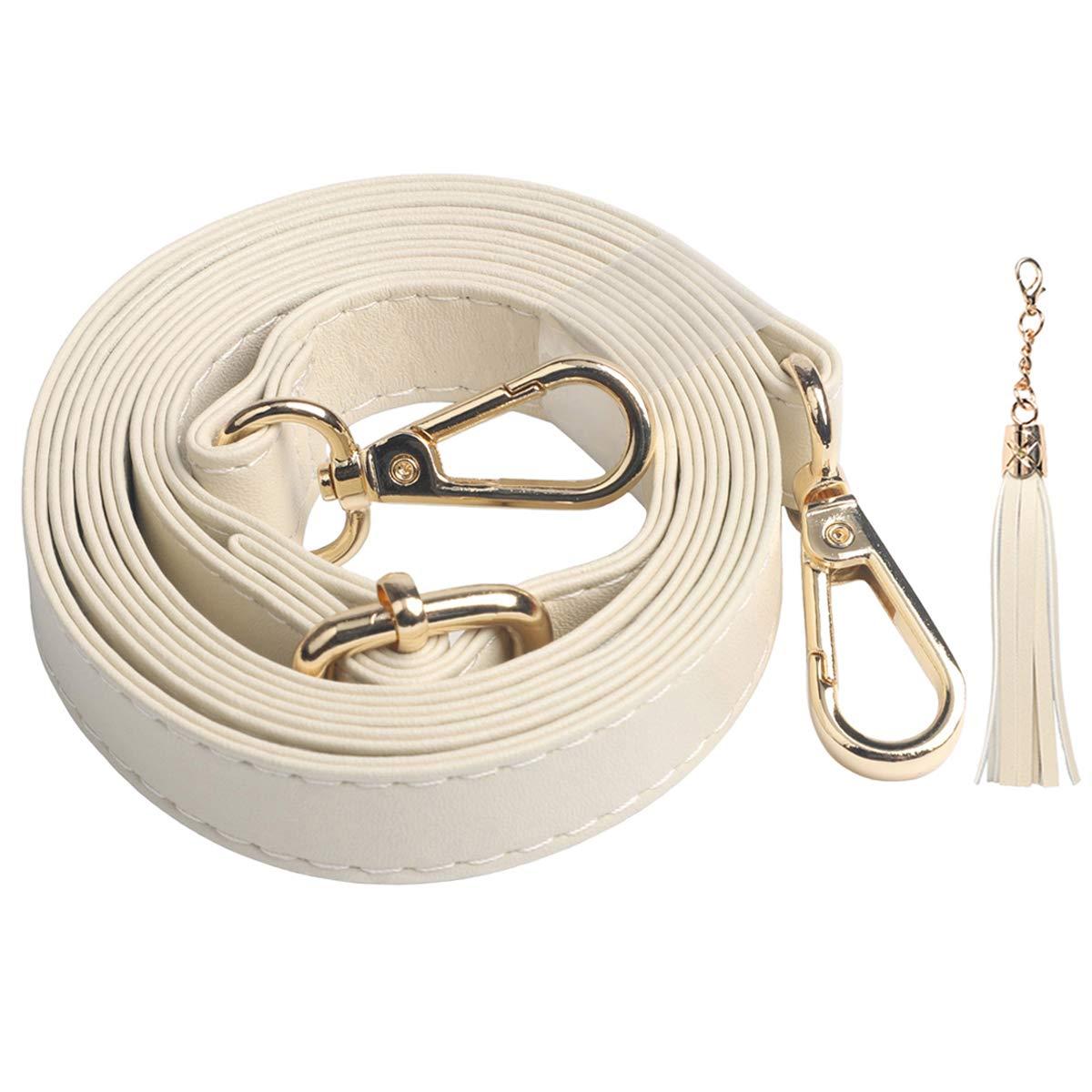 BEAULEGAN Crossbody Bag Strap Full Grain Adjustable 150cm Long 2cm Wide Replacement for Handbag//Purse Microfiber Leather Dark Brown//Gold