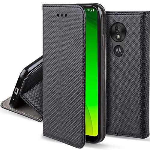 Moozy Hülle Flip Case für Motorola Moto G7 Power, Schwarz - Dünne Magnetische Klapphülle Handyhülle mit Kartenfach und Standfunktion