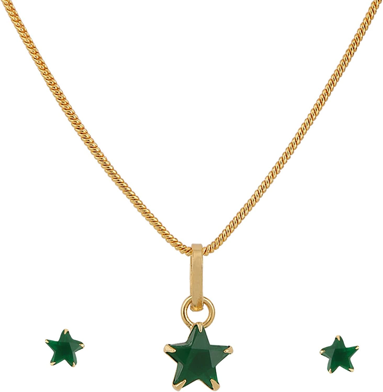 Efulgenz 14K Gold Plated Green Star Cubic Zirconia Pendant Necklace and Earrings Jewelry Set for Women Girls Brides Bridesmaids