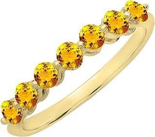 Dazzlingrock Collection 18K Round Gemstone Ladies 7 Stones Anniversary Wedding Band Ring, Yellow Gold