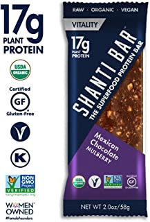 SHANTI BAR Vegan Organic Superfood Protein Bar | 17g Plant Based Protein | Raw Gluten Free Snack Bars | Performance Nutrition | Mexican Chocolate Mulberry, 12 Count