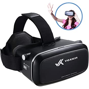 "Virtual Reality Headset 3D VR Glasses by Voxkin – High Definition Optical Lens, Fully Adjustable Strap, Focal and Object Distance – Perfect VR Headset for iPhone, Samsung and Any Phones 3.5"" to 6.5"""