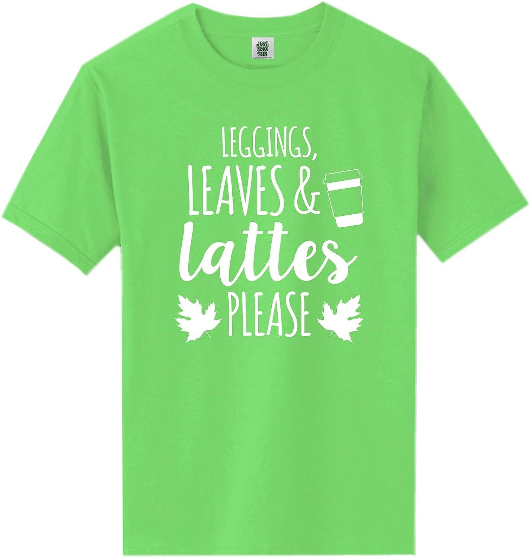 zerogravitee Leggings, Leaves & Lattes Please Neon Green Short Sleeve T-Shirt - XX-Large