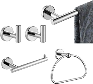JQK Bathroom Hardware Set Chrome, 5-Piece Bath Accessories Set Polished Chrome Wall Mount Includes 24 in Towel Bar, 9 in H...
