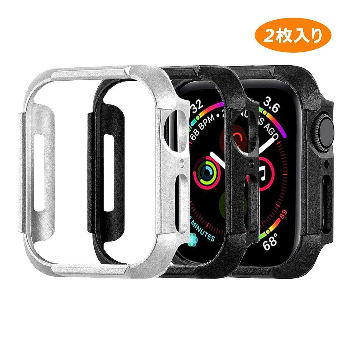 救急車リダクター削る[2枚入り]Case Compatible with Apple Watch Series 5 Series 4 Cover,と互換性があるアップルウォッチ44mm 40mm ケースぴかぴかの超薄型PC保護カバースマートウォッチアクセサリ (40mm, ブラック+シルバー)