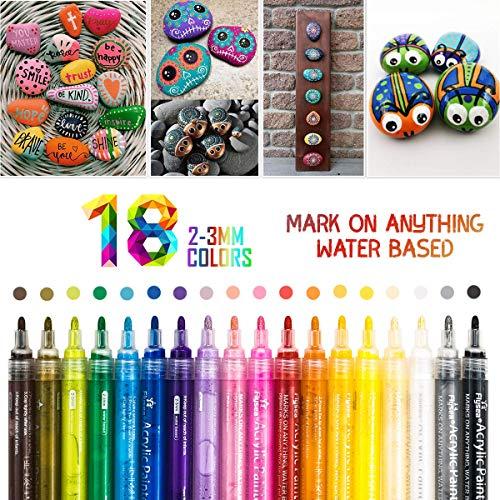 Acrylstifte Marker Stifte, 18 Farbe Wasserfest metallic stiftes für Steine Bemalen, Acrylfarben Stifte für Kinder DIY Keramik Glas Porzellan Metall Kunststoff Holz Leinwand