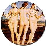 Wandbild Raffael Die DREI Grazien - 60 cm rund - Alte Meister Berühmte Gemälde Leinwandbild Kunstdruck Bild auf Leinwand