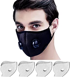Yeemoi Dust Mask, Mouth Mask Breathable Respirator with 4 Carbon N99 Filters for Pollution Pollen Allergy Woodworking Mowing Running Washable and Reusable Half Face Mask (Black)