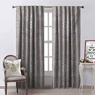 GloriaJohnson Grey Shading Insulated Curtain Victorian Lace Flowers and Leaves Retro Background Old Fashioned Graphic Print Soundproof Shade W42 x L84 Inch Warm Taupe Beige