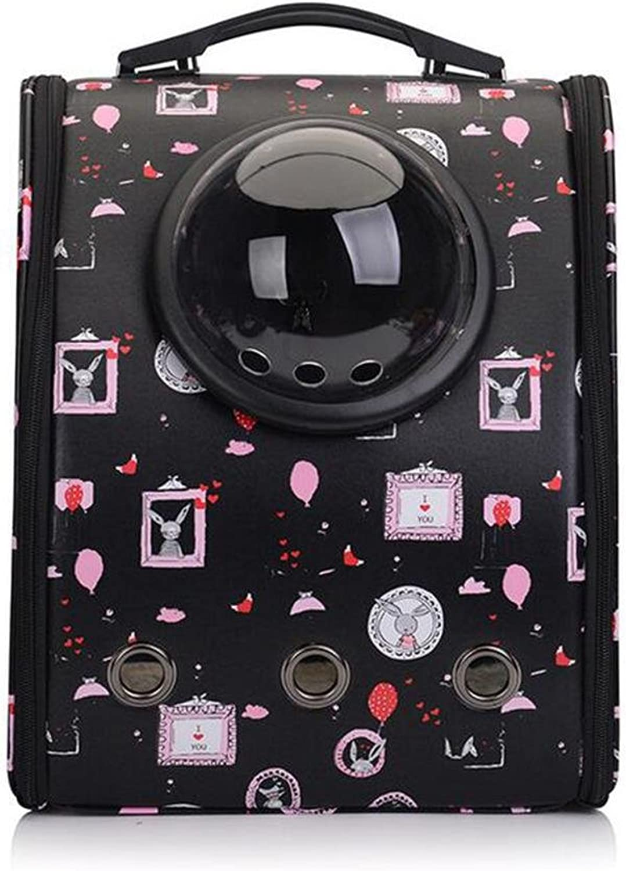 Chongwubao Breathable Canvas Space Capsule pet Bag, Small Dog Out Breathable Diagonal Package, Portable pet Bag 31  20  39cm, Black