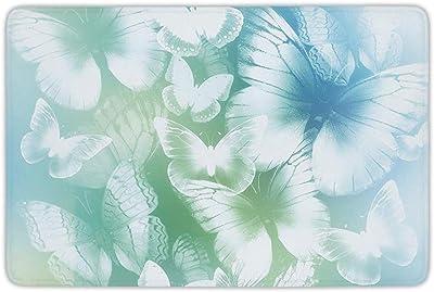 Bathroom Bath Rug Kitchen Floor Mat Carpet,Light Blue,Dreamlike Butterflies in Spring Garden Blurry Fantasy Wings,Light Blue Light Green White,Flannel Microfiber Non-Slip Soft Absorbent