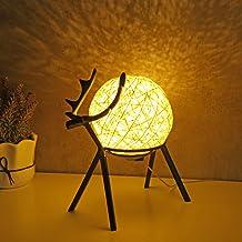 SoeHong USB Moon Warm Nachtlampje met Herten Stand, Nachtkastje Bal LED Lamp Verstelbare Handgeweven Lampenkap Slaapkamer ...