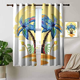 Jinguizi grommetPalm Tree Light Curtain Colorful Cartoon Tropical Island with Hawaiian Palm Trees Torch Seagulls Sunset Blackout Curtains for Bedroom Blue Orange 72 x 45 inch