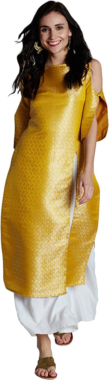 Jaipur Kurti Women's Yellow Pure Silk Brocade Kurta