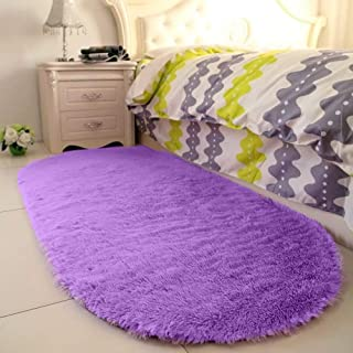YJ.GWL High Pile Soft Shaggy Rug Purple Fluffy Area Rugs for Bedroom Girls Room Anti-Slip Nursery Rug Carpets Lavender Room Decor 2.6' X 5.3'
