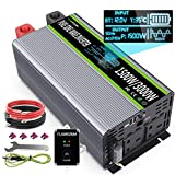 Pure Sine Wave Power Inverter 1500W DC 12V to 240V AC Converter, Peak Power 3000W, with 4.5m Remote Controller Dual AC Outlets & 2.4A Dual USB with LCD Display
