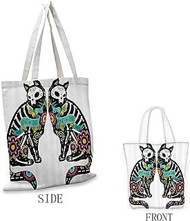 Tote Bag for Women, Lightweight Day Of The Dead Decor Skeleton Cats Festive Celebration Spanish Art Print, 16.5