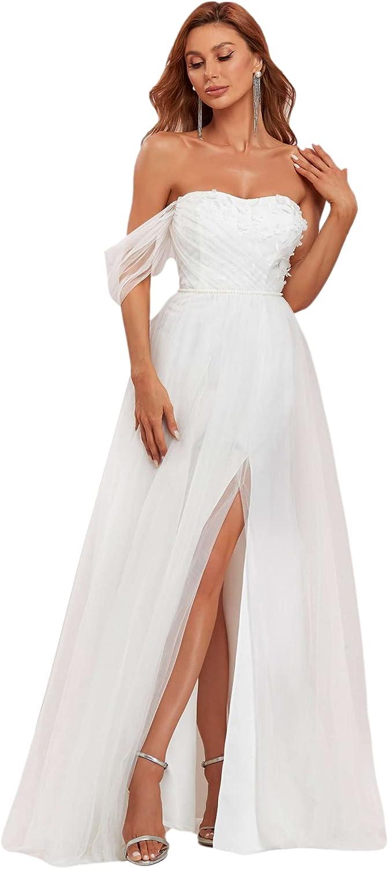 Ever-Pretty Women Off The Shoulder Lace Applique A Line Tulle Wedding Dress 90324