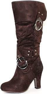 TRENDSup Collection Women's Mid Heel Crossed Buckle Straps Boots