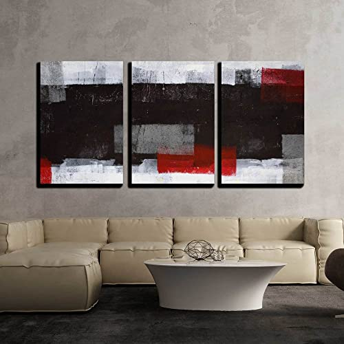 "wall26 - Grey and Red Abstract Art - Canvas Art Wall Art - 24""x36""x3 Panels"