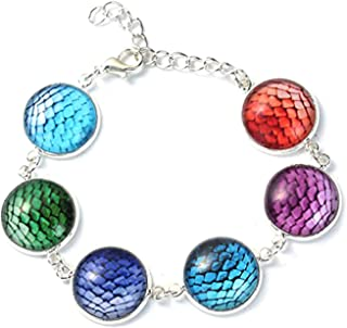 Best Wing Jewelry Glass 17mm Round Mermaid/Fish/Dragon Scale Bracelet