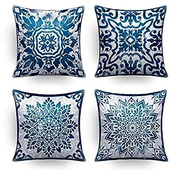 Throw Pillow Covers,Decorative Pillows,Pillow Covers 18x18,Couch Pillows,Throw Pillows,Blue Pillow Covers,Outdoor Pillows,Outdoor Pillow Covers,Bed Farmhouse Patio Sofa Pillows for Living Room Set 4