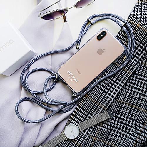 Neckay Handykette kompatibel mit iPhone - Handyhülle fürs Smartphone zum Umhängen mit abnehmbarem Band - Handy Case Hülle mit Kordel - Schutzhülle mit Schnur (iPhone 7+/8+, Silver Grey)