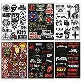 makstore 88 pegatinas de metal punk Rock and Roll para coche, portátil, móvil, moto, bicicleta, monopatín, impermeable, 6 hojas A4